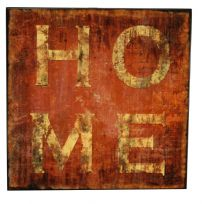Square Glazed Wooden Logo Wall Art - HOME